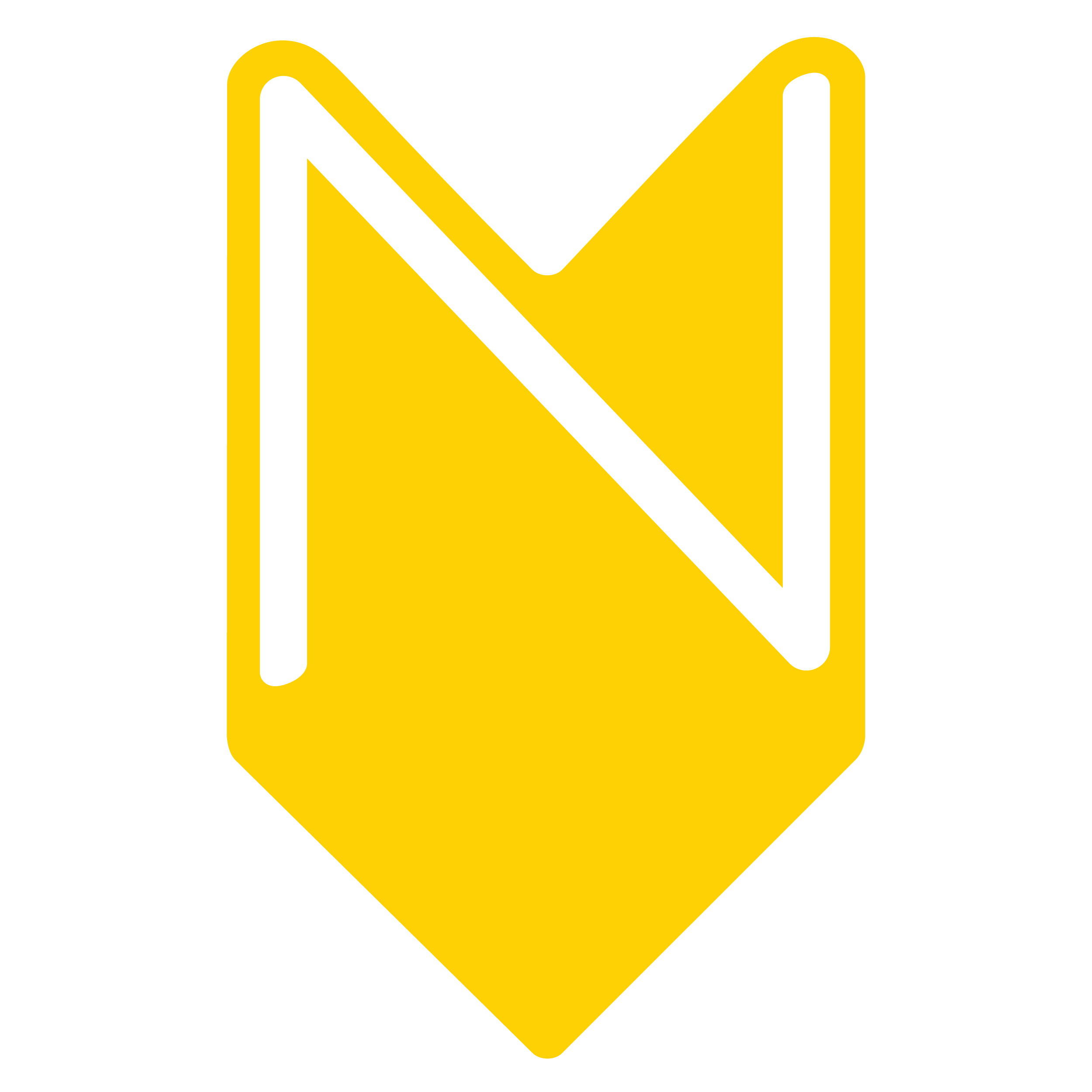 The Nearstory logo is a yellow uppercase 'N' within an elongated brown chevron. The chevron is pointed down like an arrow to symbolize a location point in which a story can be heard.